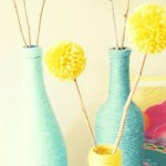 Pom Pom Flowers & Yarn Wrapped Bottles