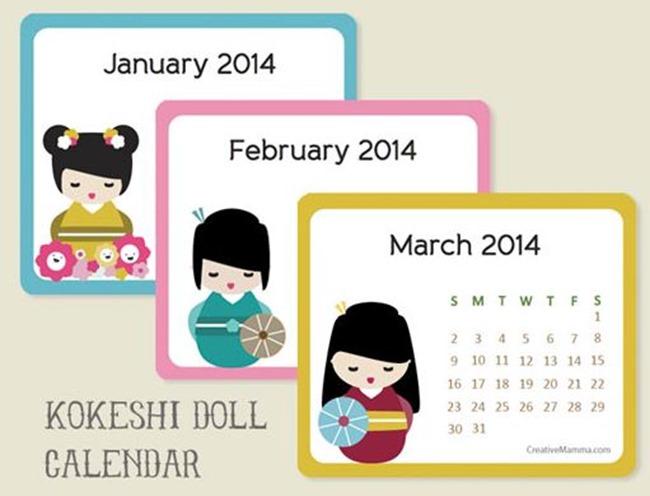 2014 Free Calendar - Kokeshi Doll - Creative Mamma