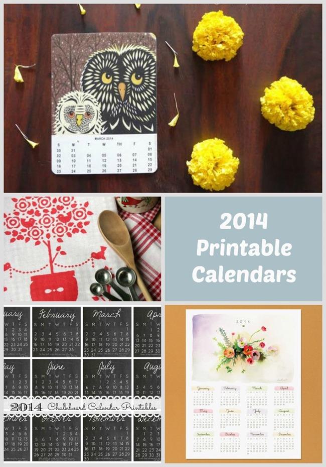2014 Printable Calendars - Free - 7 Creative Designs on EverythingEtsy.com