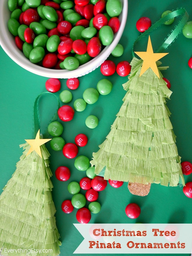 Christmas Tree Pinata Ornaments - Holiday Tutorial on EverythingEtsy.com