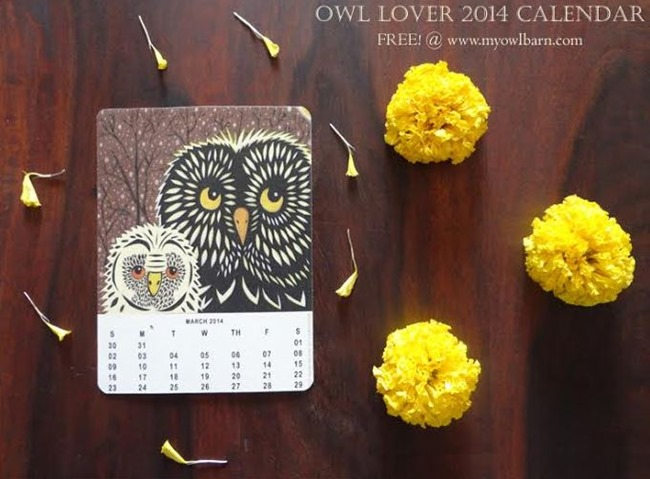 Free 2014 Owl Lovers Calendar - Printable - My Owl Barn