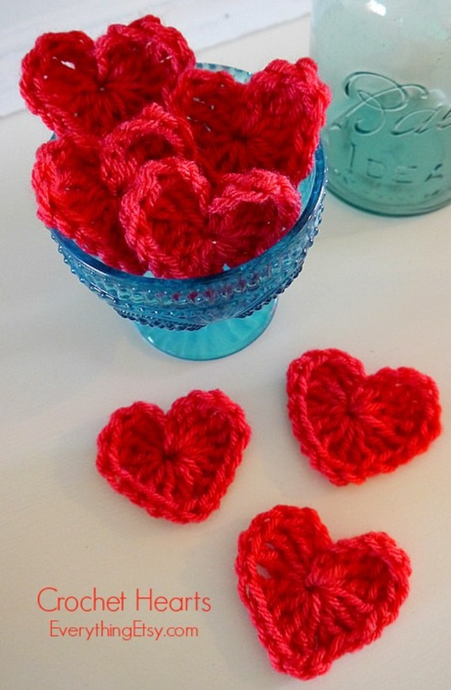 Crochet Hearts @EverythingEtsy - Free Pattern