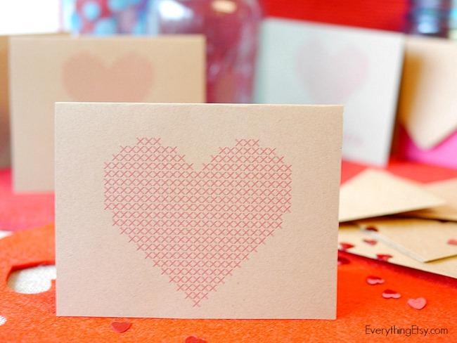 Cross Stitch Heart Printable Cards on EverythingEtsy.com