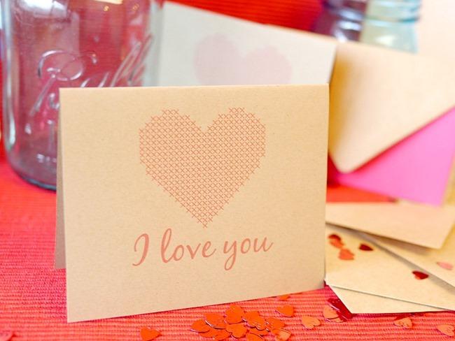 Cross Stitch Love Card Printable on EverythingEtsy.com