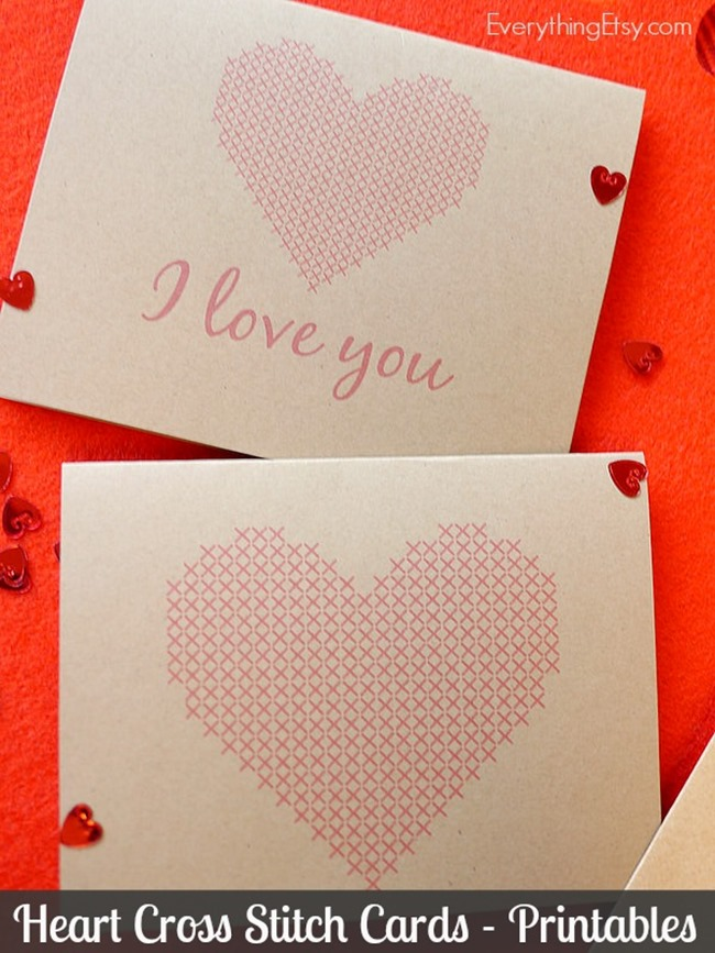 Heart Cross Stitch Cards - Free Printables from @EverythingEtsy