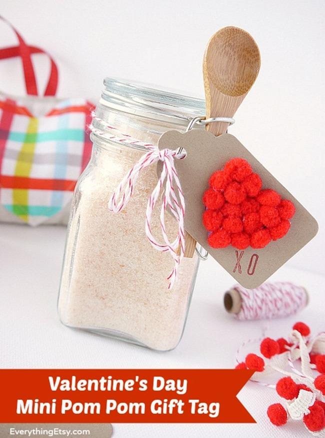 Valentine's Day Mini Pom Pom Gift Tag - DIY on EverythingEtsy