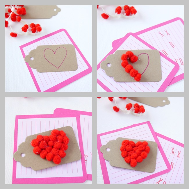 Valentine's Day Mini Pom Pom Gift Tag Steps