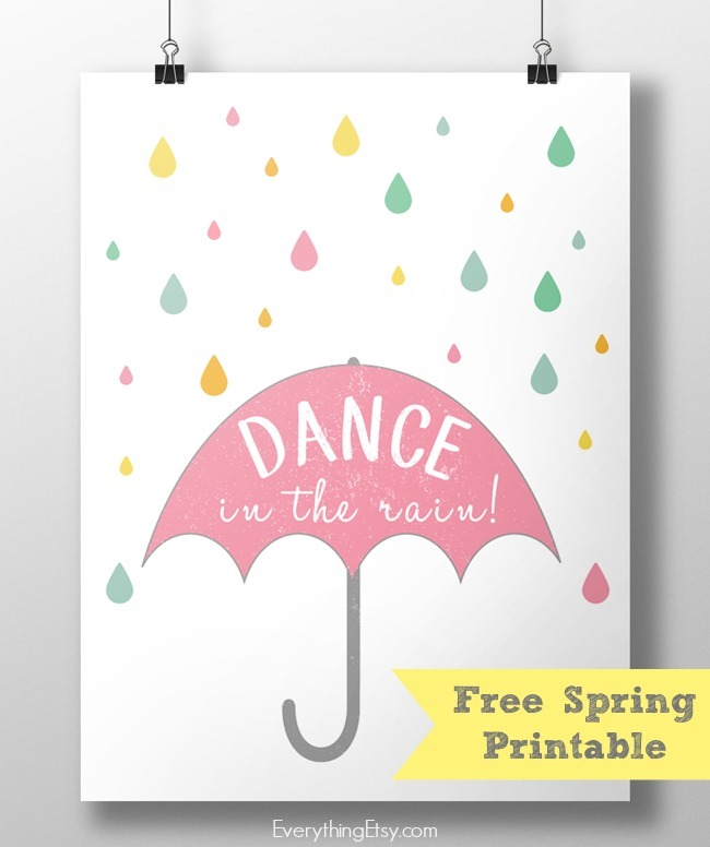 graphic regarding Etsy Printables named Dance in just the Rain! Free of charge Spring Printable -