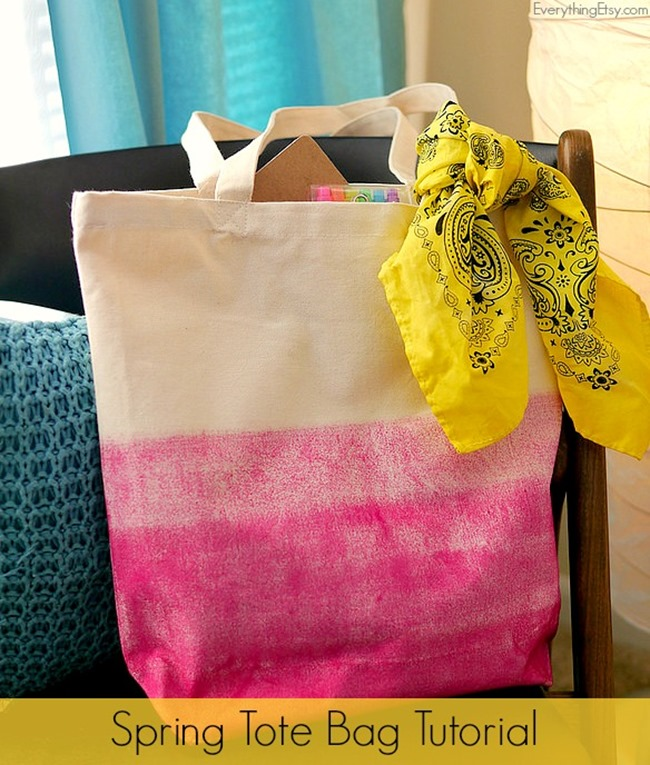 Spring Tote Bag Tutorial - Ombre - EverythingEtsy