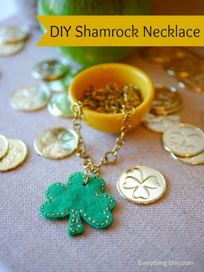 St. Patrick's Day Shamrock Felt Necklace Tutorial on Everything Etsy