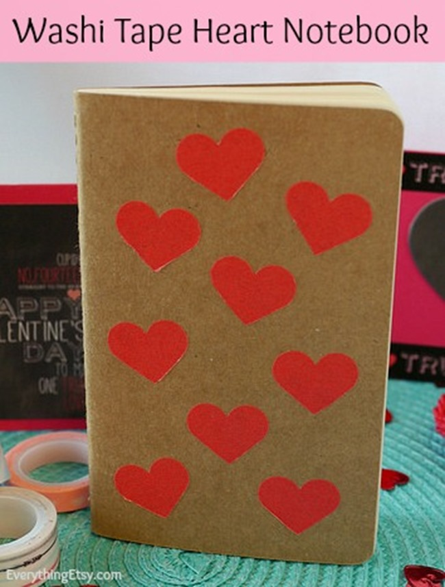 Washi Tape Heart Notebook Tutorial l EverythingEtsy.com l Easy DIY Gift!