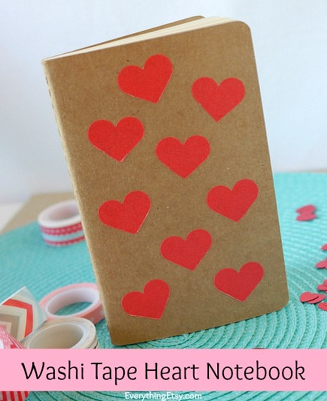 Super Washi Tape Heart Notebook Tutorial PD38