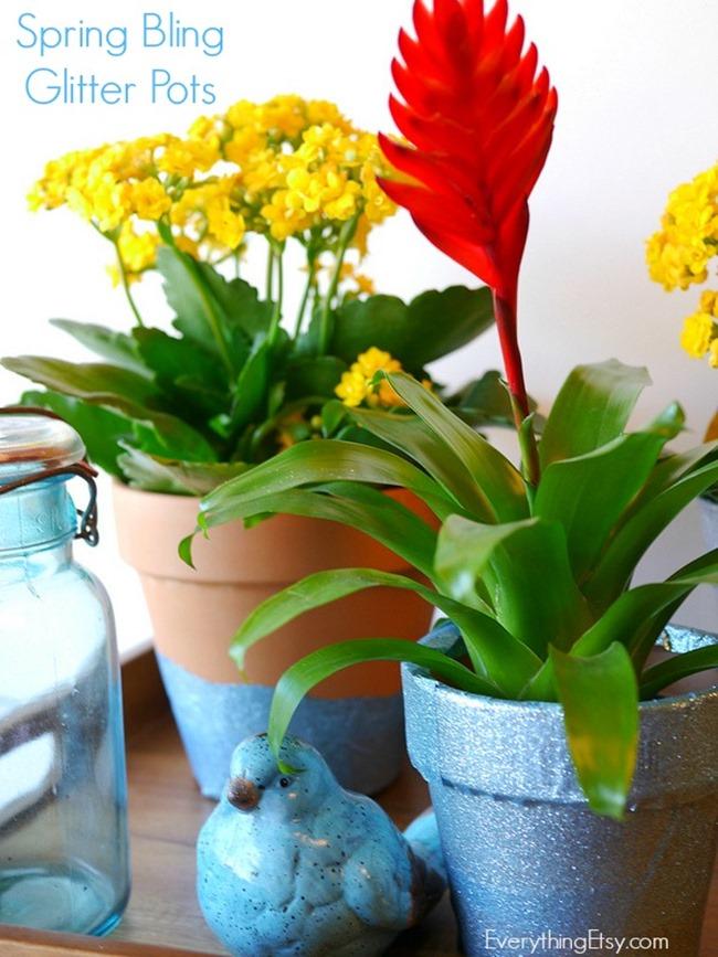 Spring Bling Glitter Pots on EverythingEtsy
