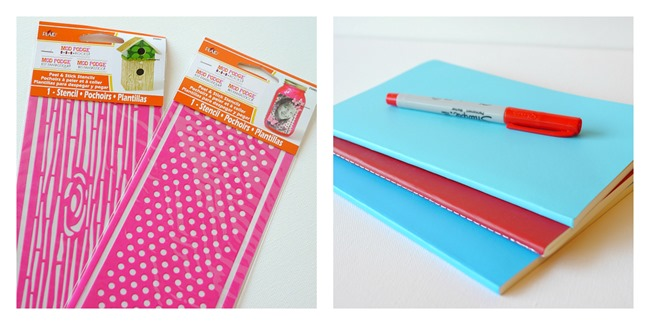 Notebook supplies - Mod Podge Stencils