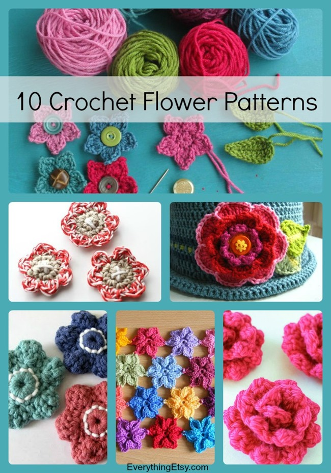 10 simple crochet flower patterns everythingetsy 10 crochet flower patterns free projects on everythingetsy dt1010fo