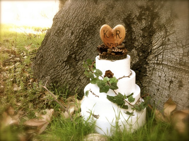country wedding - handmade on etsy - rustic heart cake topper