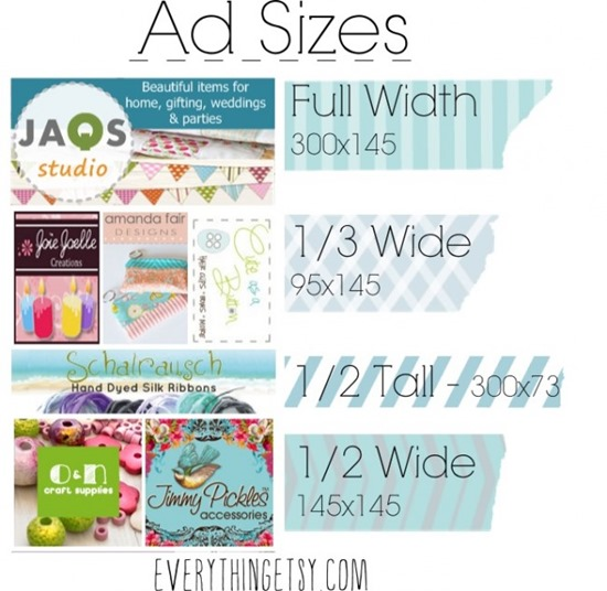 Ad sizes on Everything Etsy