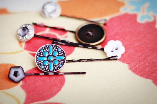 DIY Hair Accessories - button bobby pins
