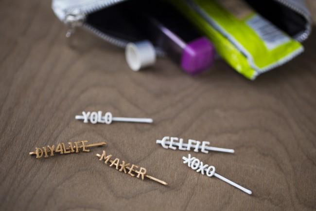 DIY Hair Accessories - wordy pins