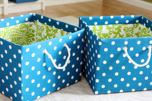 DIY Organize - Pretty Fabric Covered Baskets