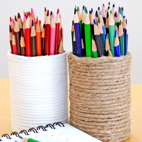 DIY Organize - Rope Pencil Holders