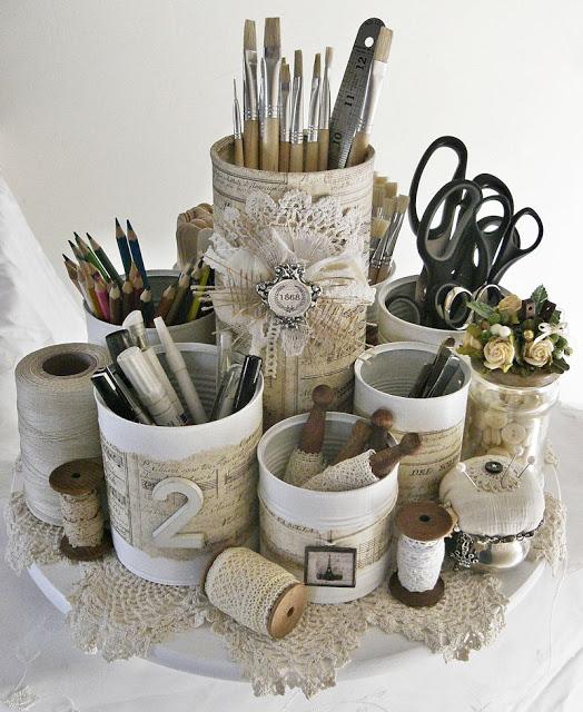 DIY Organize - Shabby Chic Cans