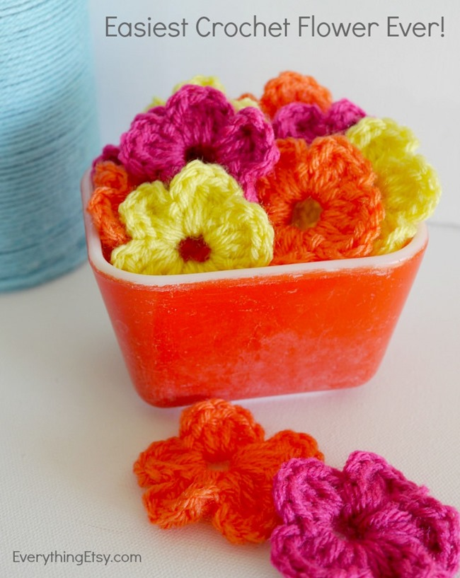 The Easiest Crochet Flower Pattern Ever Everythingetsy