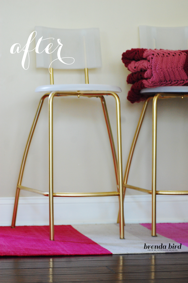DIY Glammed Up Gold Stools