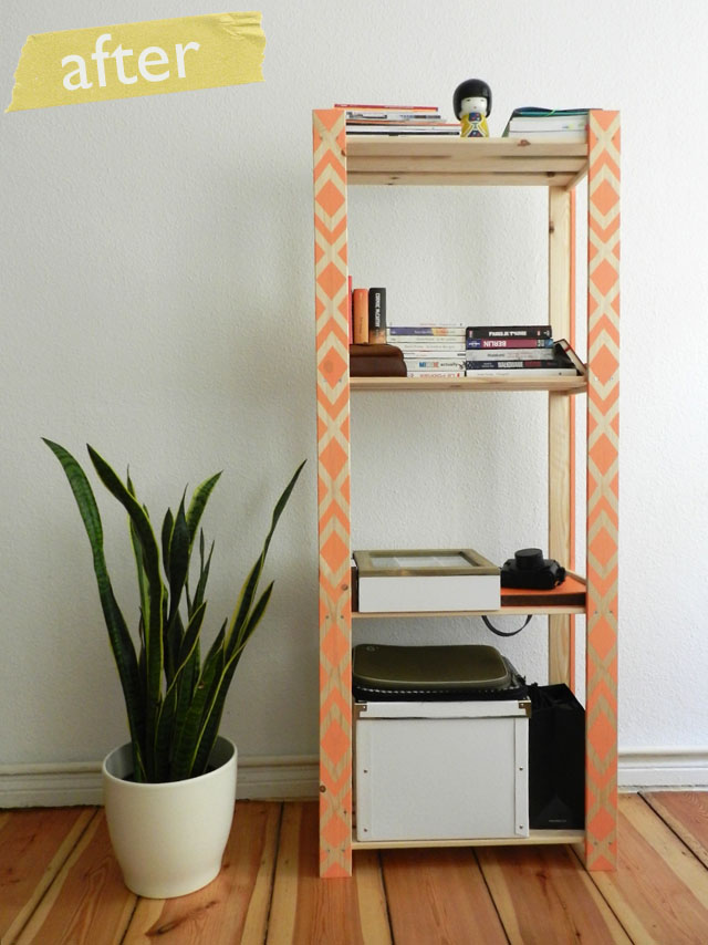 Stenciled Shelving Unit
