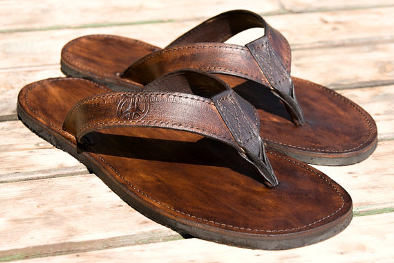 summer on etsy - leather flip flops