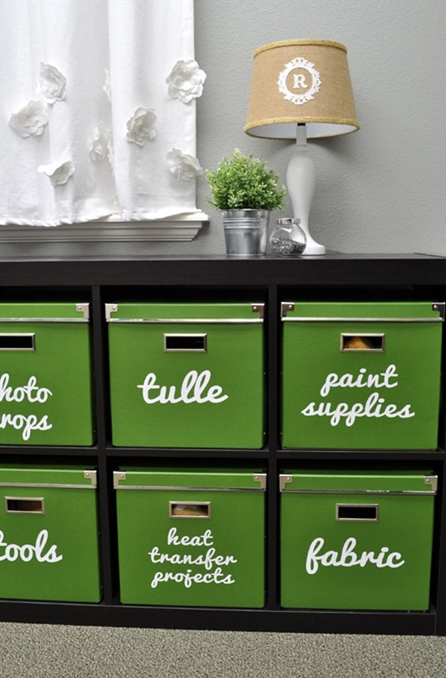 diy storage containers - stenciled