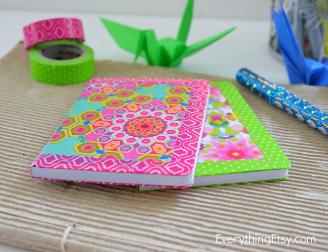 Colorful DIY Notebook Tutorial on EverythingEtsy.com