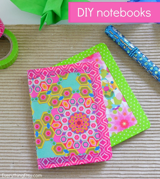 Colorful diy notebooks for Back to school notebook decoration ideas