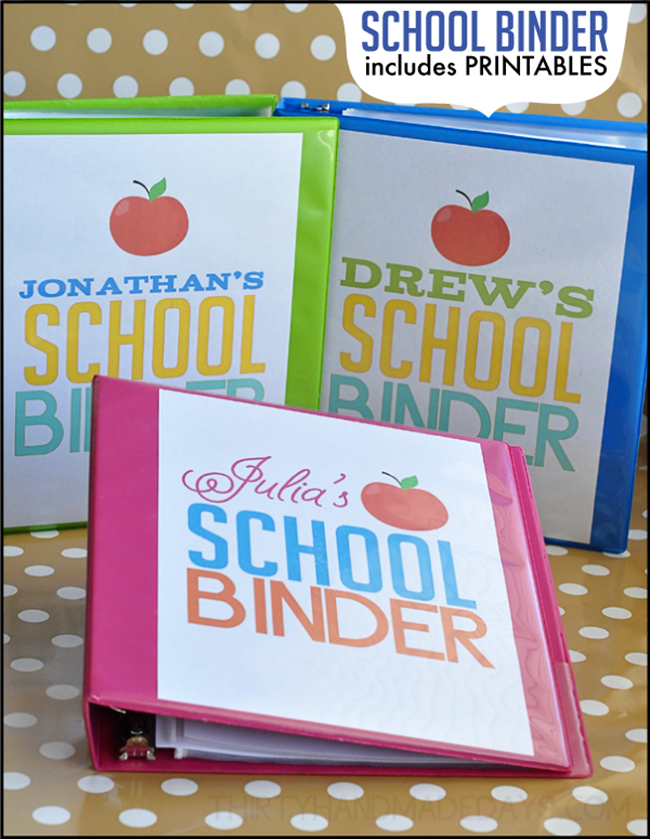 back to school binders - free printable