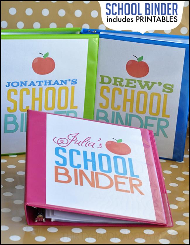 back to school binders - free printable