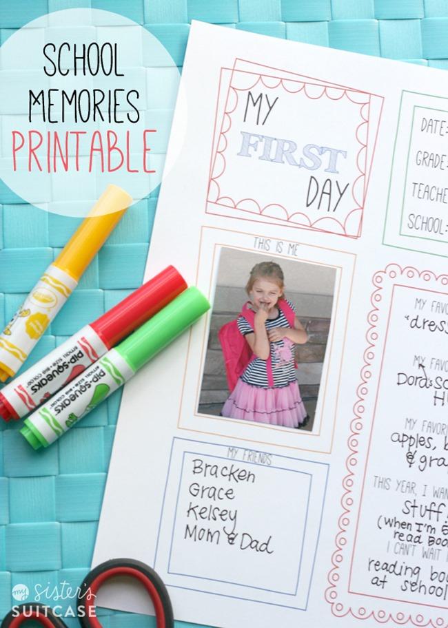 back to school memories free printable