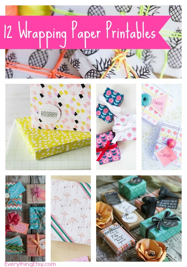 12 Free Wrapping Paper Printables on EverythingEtsy.com
