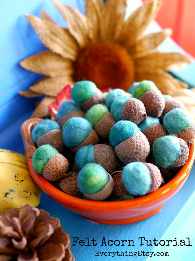 Felt Acorn Tutorial for Fall Decorating on EverythingEtsy.com