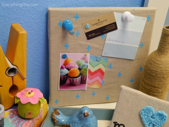 corkboard and tulip