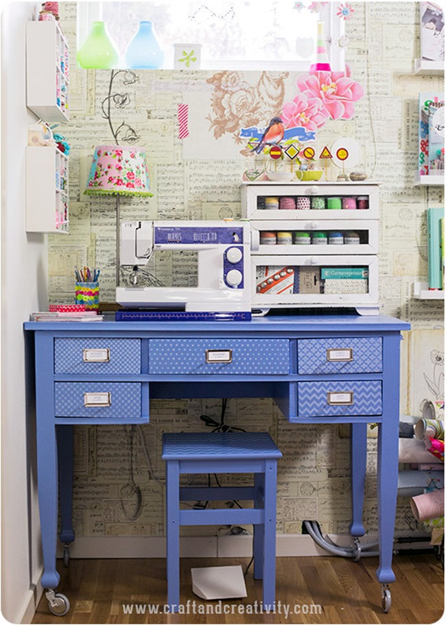 craft room inspiration - blue desk