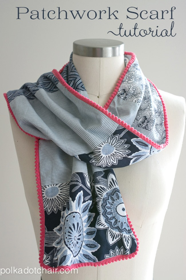 fall sewing tutorials - patchwork scarf