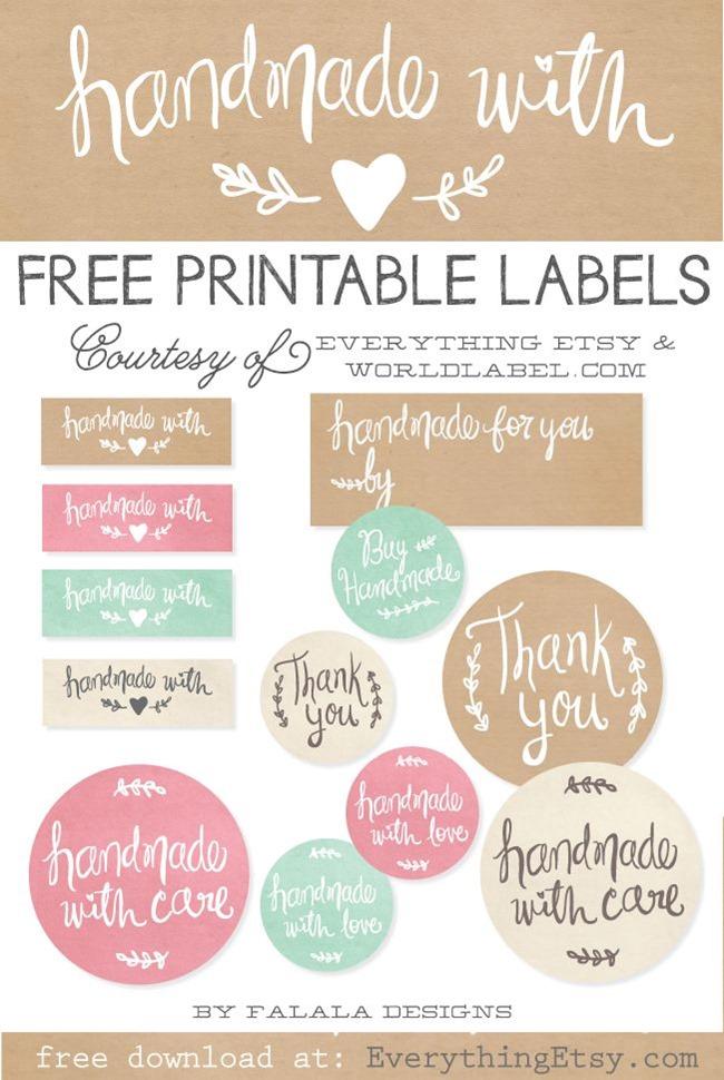free handmade printable tags