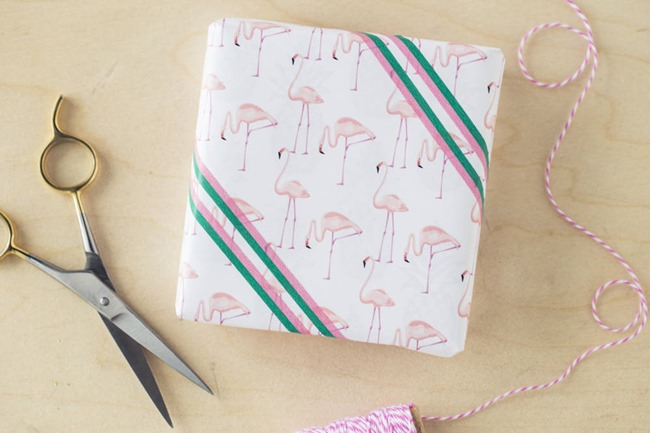 printable wrapping paper -  flamingo wrapping paper