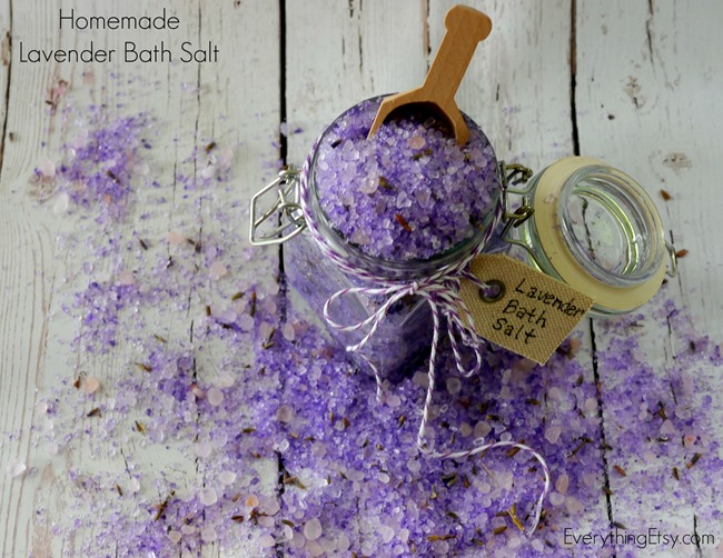 Homemade Lavender Bath Salt DIY on EverythingEtsy.com