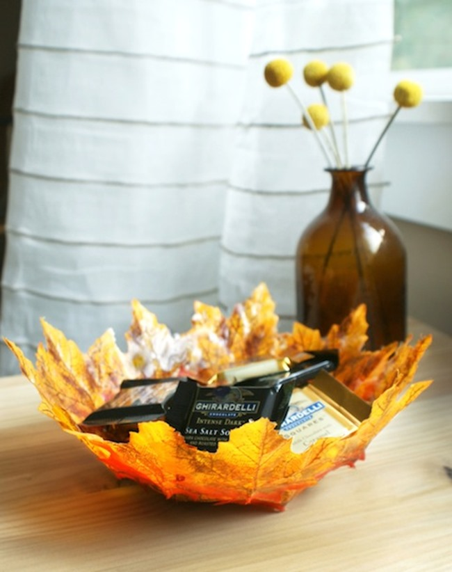 diy leaf bowl for fall