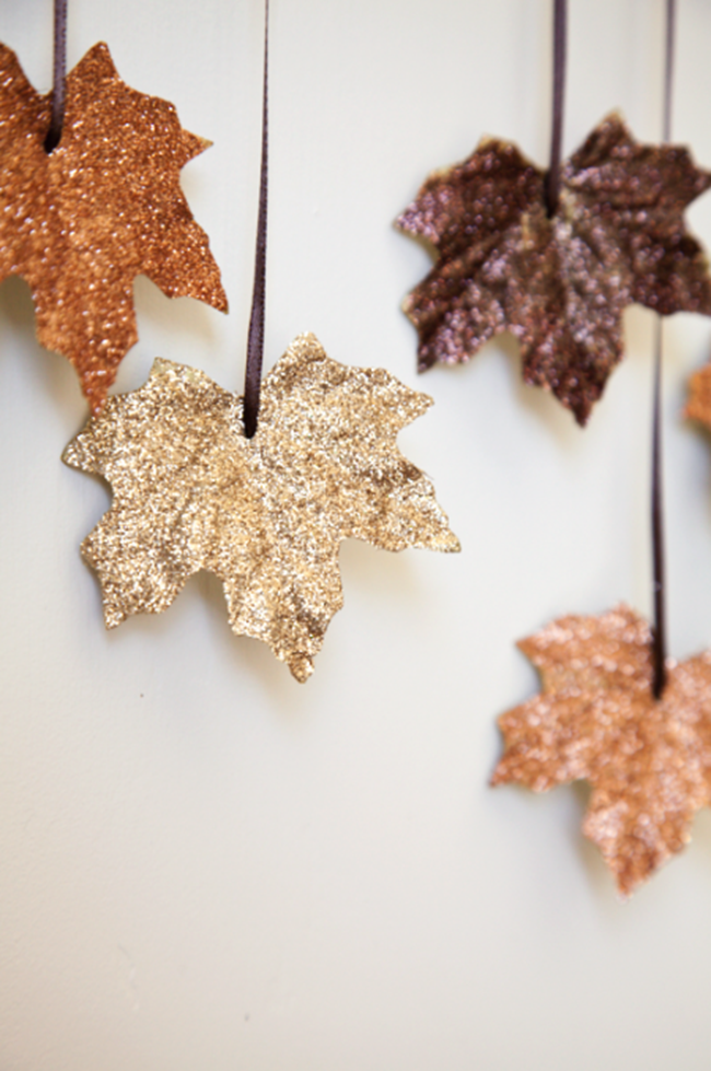 gold sparkle leaves - diy