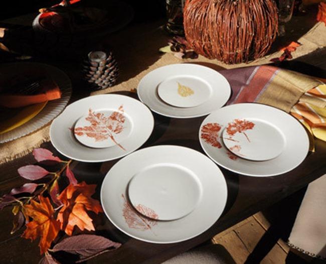 leaf stamped plates