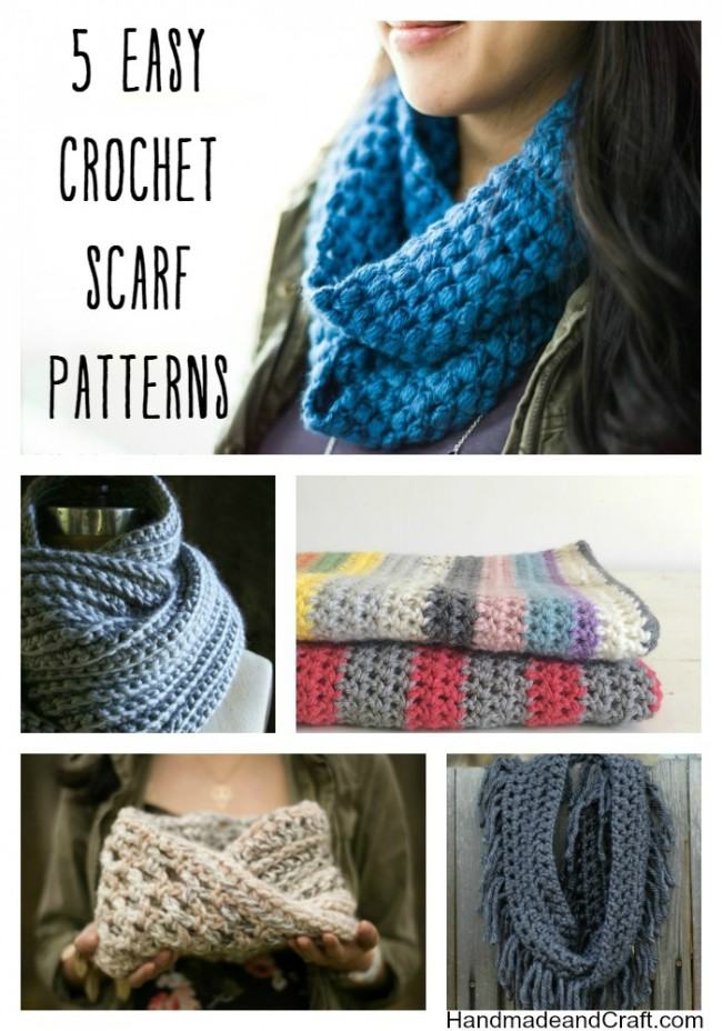 5 Easy Crochet Scarf Patterns on HandmadeandCraft.com
