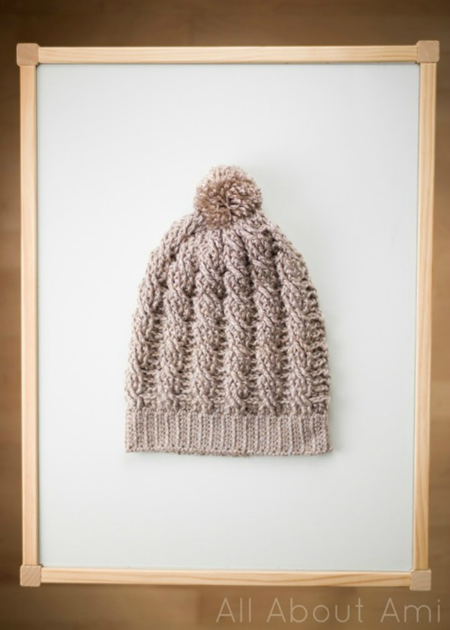 All About Crochet : Cabled Slouchy Beanie - All About Ami