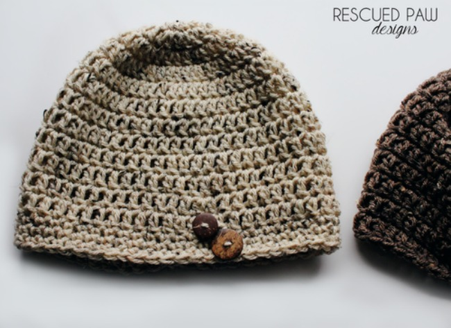 free crochet hat pattern - button